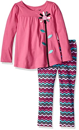 17bcfe566 Kids Headquarters Little Girls' Toddler 2 Piece Leggings Set with Detail On  The Back,