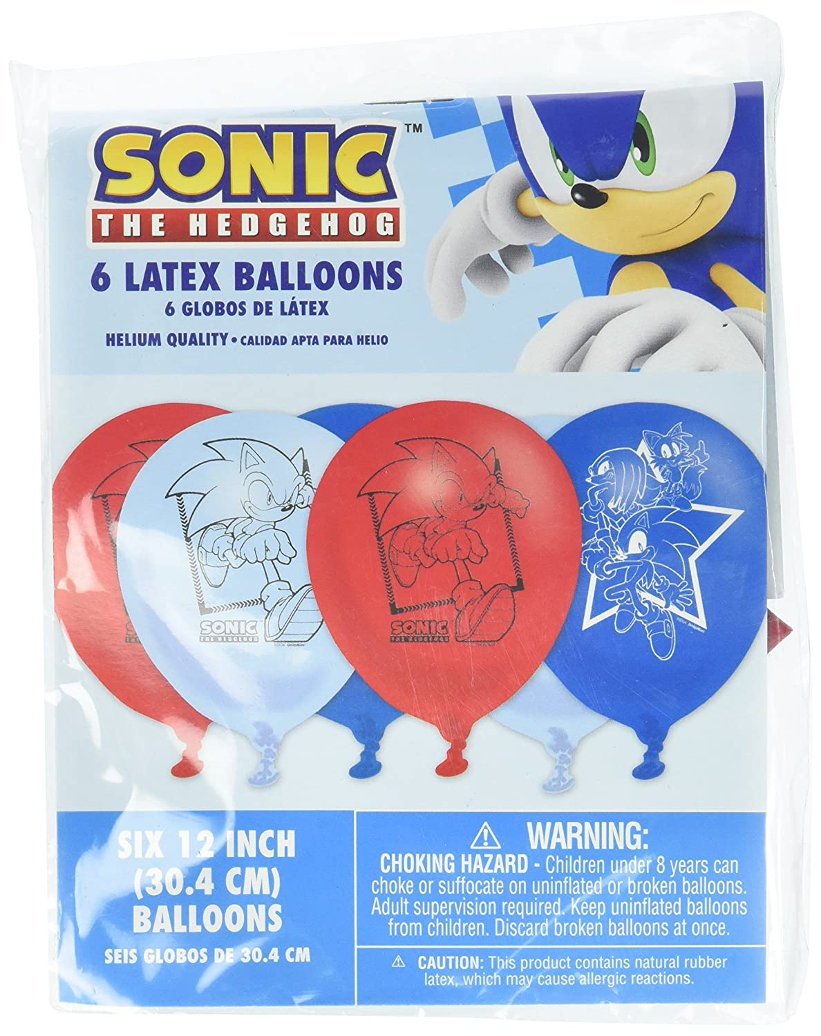 Sega Sonic The Hedgehog Assorted Colors Latex Balloons, Party Favor Amscan 111708