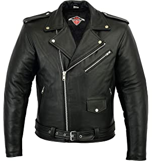 2f36441fe Mens classic Brando Biker style Real Leather Jacket #B2: Amazon.co ...