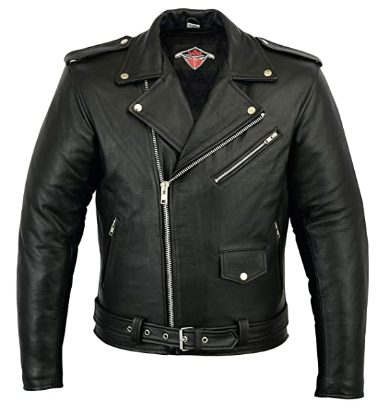 6650b88a72cf0 Mens Brando Style Motorcycle Motorbike Cowhide Leather Jacket In Black  Sizes M-5XL  Amazon.co.uk  Clothing