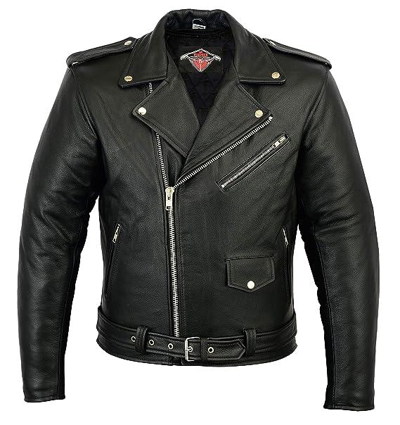 7d4939103ee36 Mens Brando Style Motorcycle Motorbike Cowhide Leather Jacket In Black  Sizes M-5XL  Amazon.co.uk  Clothing