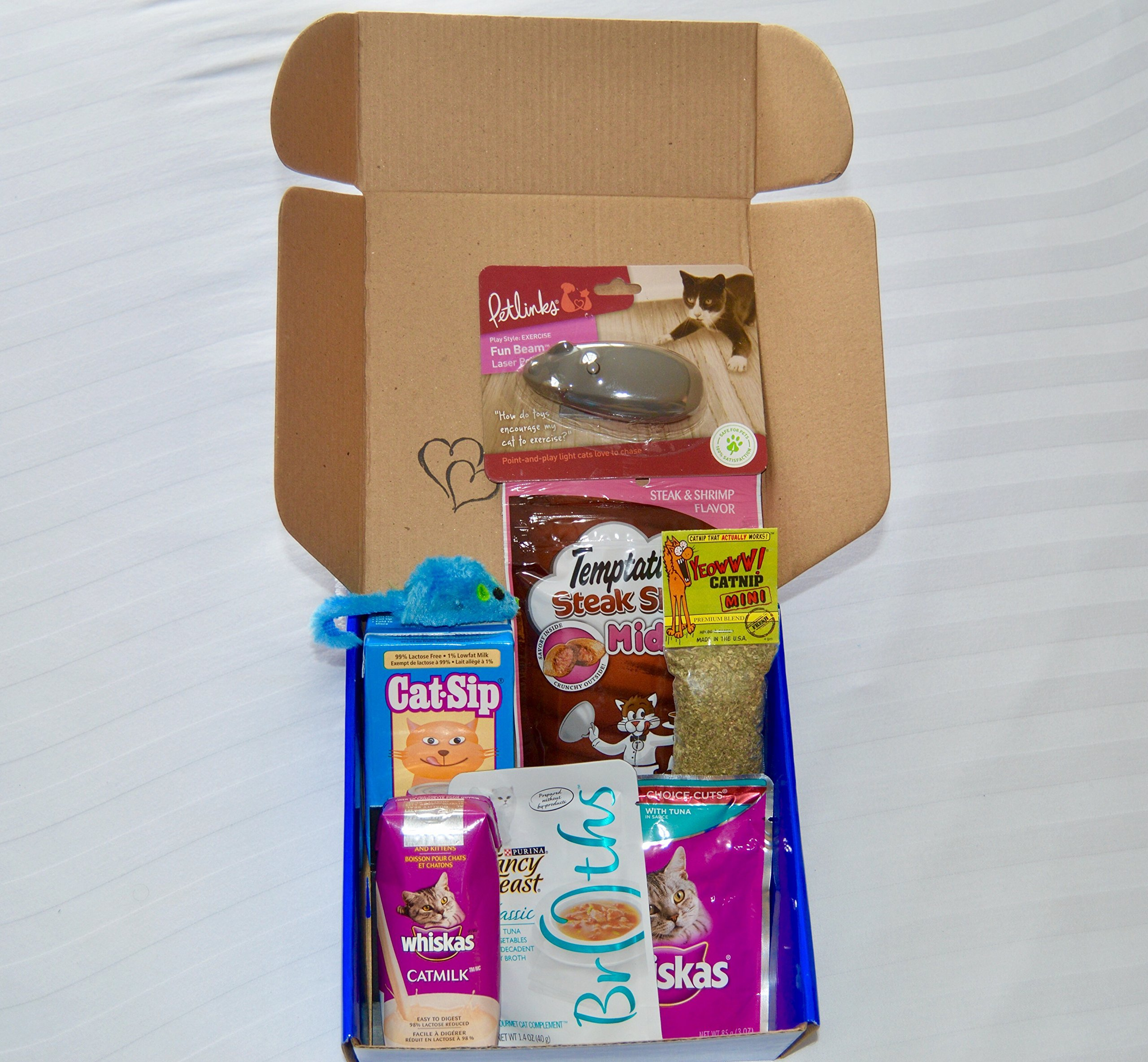 Leo's Cat Toy and Treat Gift and Sample Box (Large, Dark Blue) - A Present for your Cat