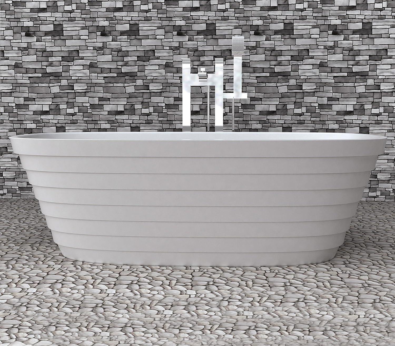 Soporte de diseño bañera de mineral de hierro fundido bañera de piedra artificial BLANCO L/B/H 170 x 80 x 56