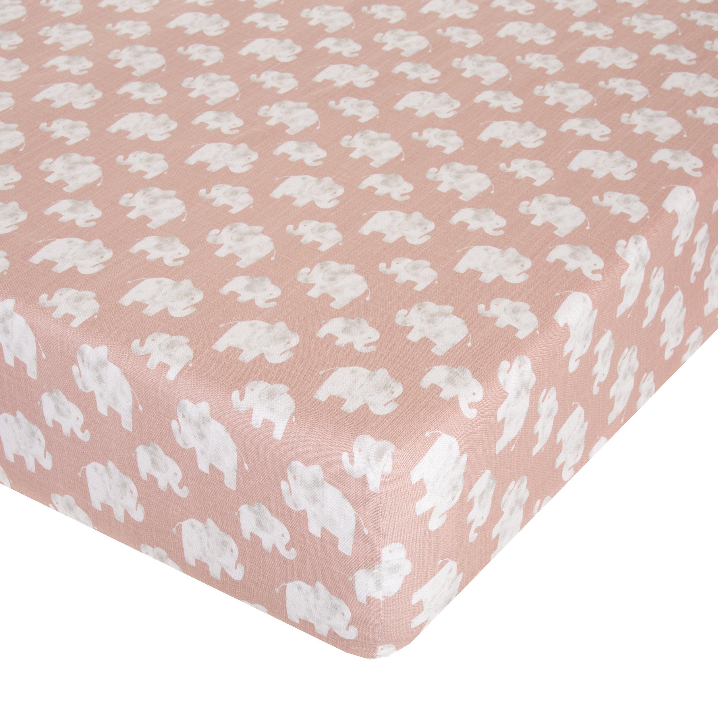 Glenna Jean Elephant Herd - Blush Crib Sheet Fitted 28''x52''x8'' Nursery Standard