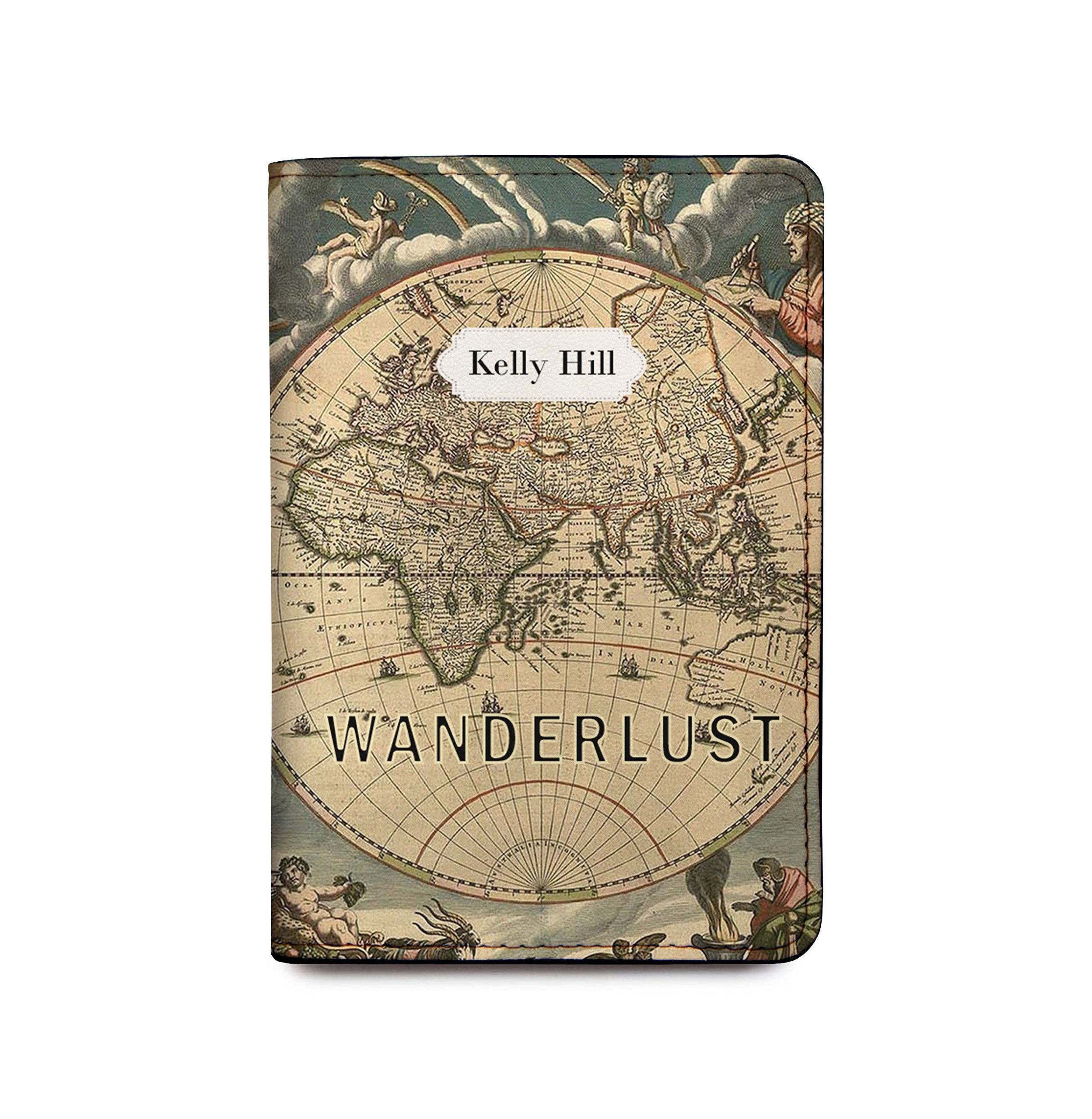 Personalized RFID Blocking Leather Passport Cover Wallet - Wanderlust Map