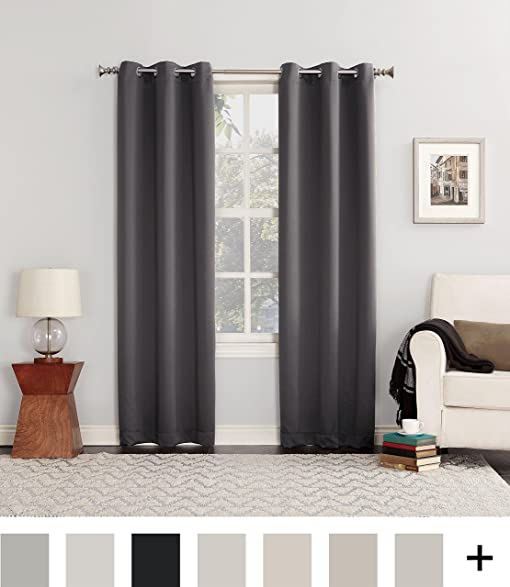 Sun Zero Easton Blackout Energy Efficient Curtain Panel 40quot X 84quot Charcoal