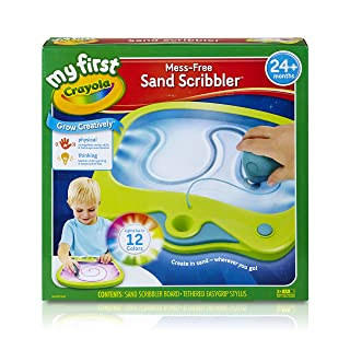 Crayola My First Mess-Free Sand Scribbler Art Gift for Toddlers & Preschool Kids 2 & Up, 12 Color Light-Up Sand Drawing Pad with Tethered Kid-Grip Stylus, Portable & No-Mess Creativity