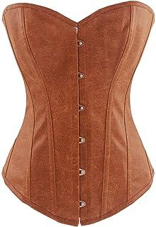 decd68feb4 Y Fashion Womens Sexy Steampunk Gothic Faux Leather Boned Corset Bustier