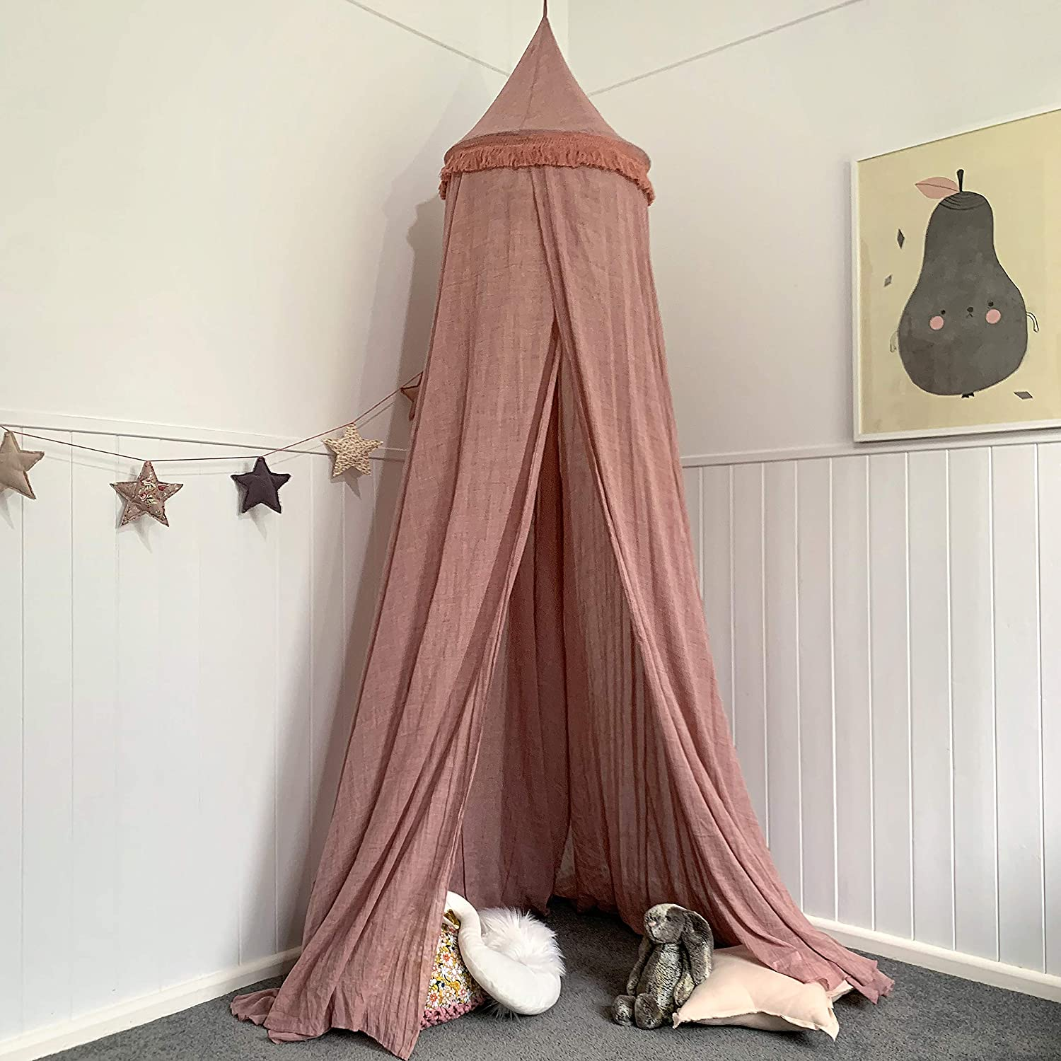 for Child Zeke and Zoey Soft Hanging Dirty Dusty Pink Bed Canopy for Girls Bed or Boys Nursery Decoration Play Hideaway Tent for Kids Rooms or Cots Reading Slightly Sheer Drapes