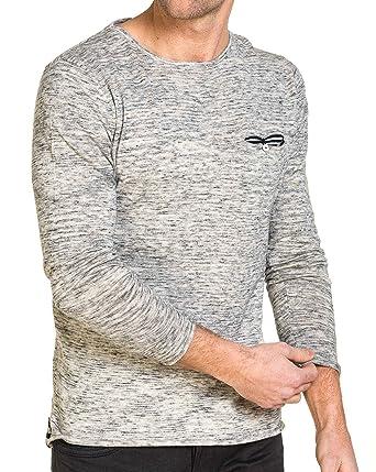 11fc19ff6ba Deeluxe 74 - Pullover Homme Gris chiné Poche Poitrine  Amazon.fr  Vêtements  et accessoires