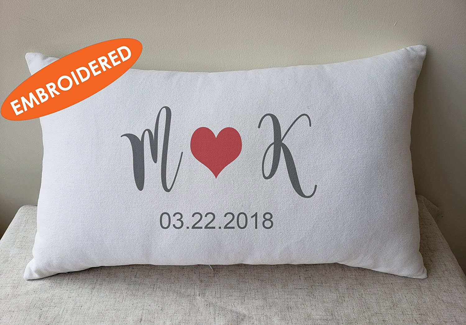 DecorHouzz Embroidered Personalized pillow, Couple names pillow, Valentines, anniversary gift, newlywed pillow, Wedding Day Pillow, Name Date Cushion cover, shower gift throw pillow, Anniversary Gift