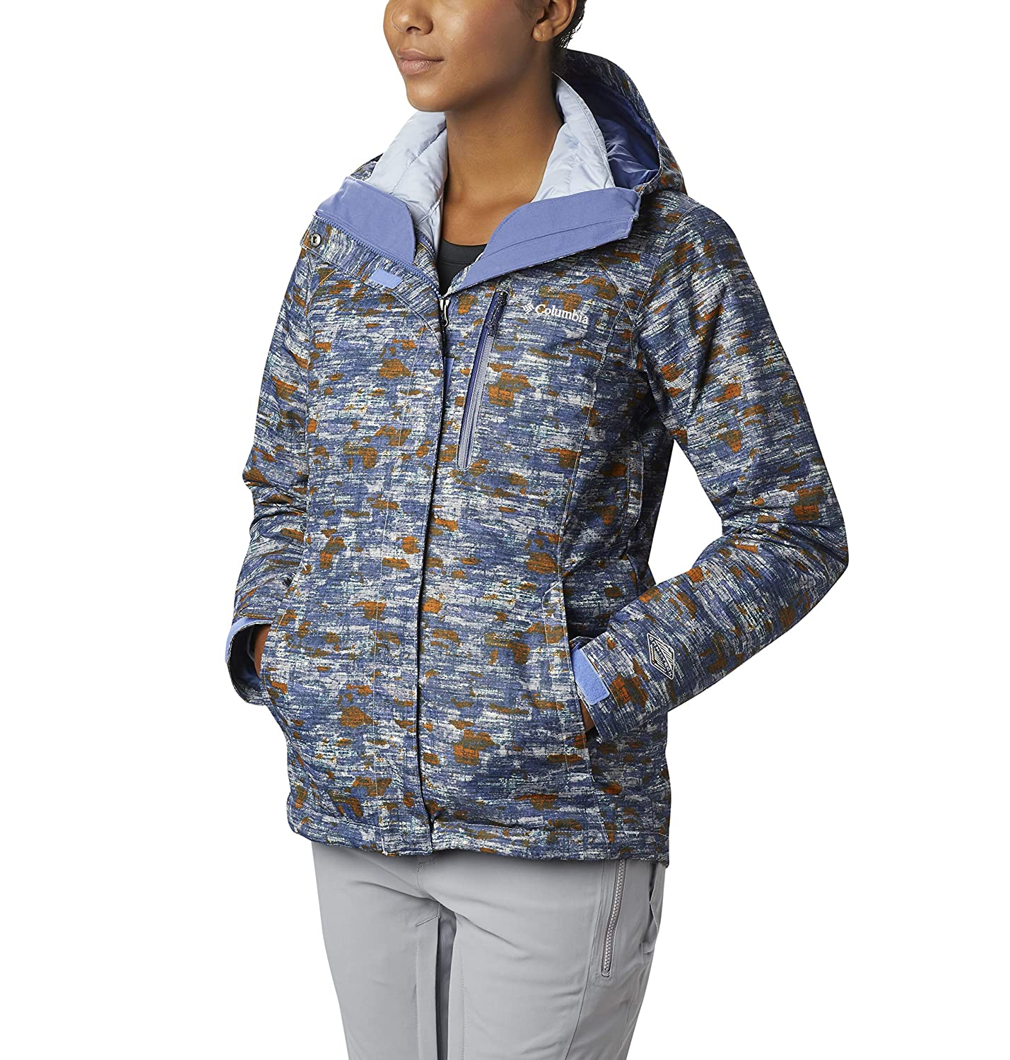 Faded Sky Camo Print Columbia Women's Whirlibird Interchange Jacket, Waterproof and Breathable