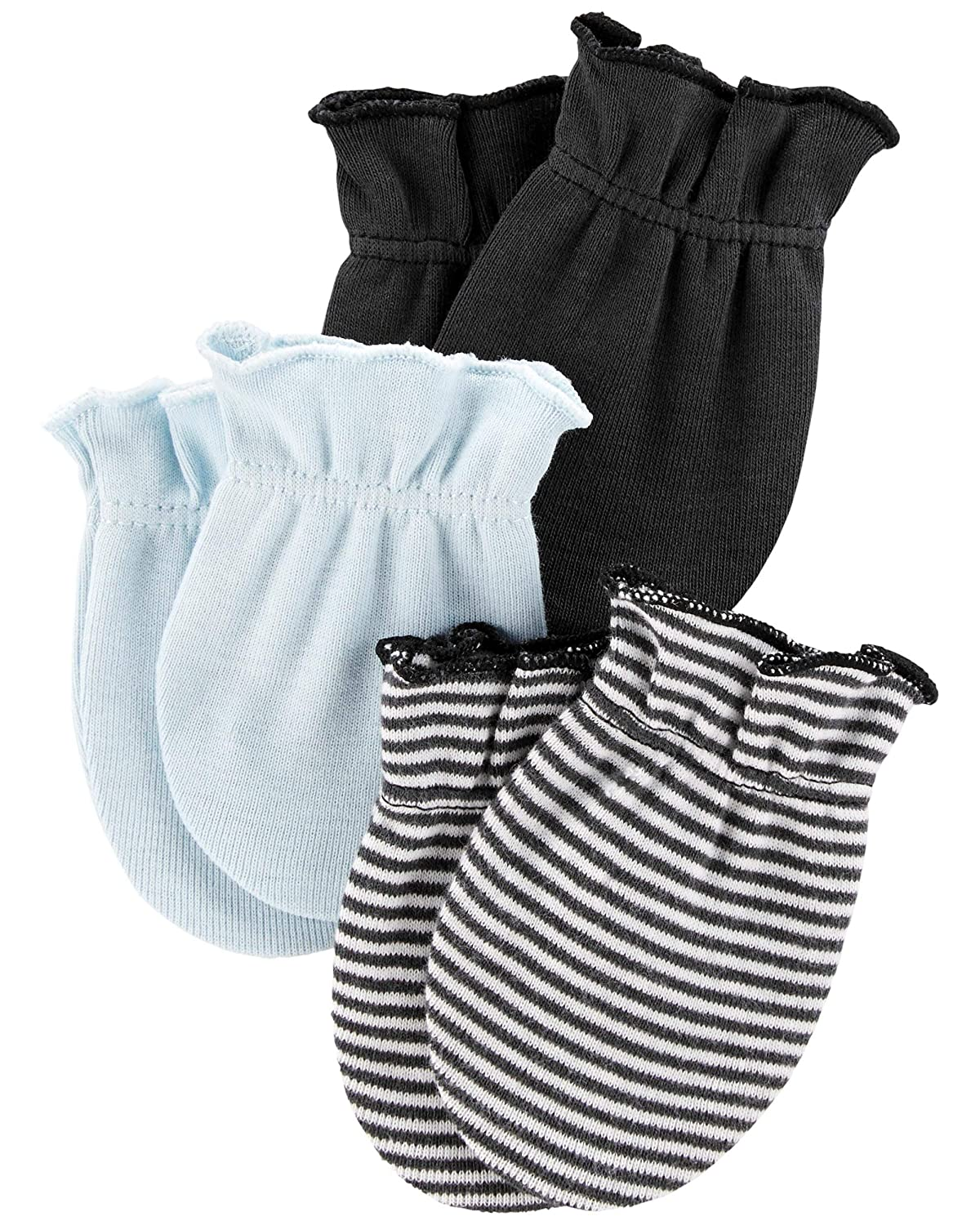 Carter's Baby Boys' 3 Pack Mittens, Blue/Gray, 0-3 Months
