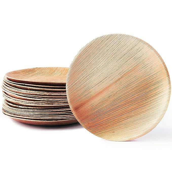25 x Platos de hoja de palma naturales | Nobles y amigables para el medio ambiente | Platos de madera desechables e 100% compostables | Vajillas de madera: ...