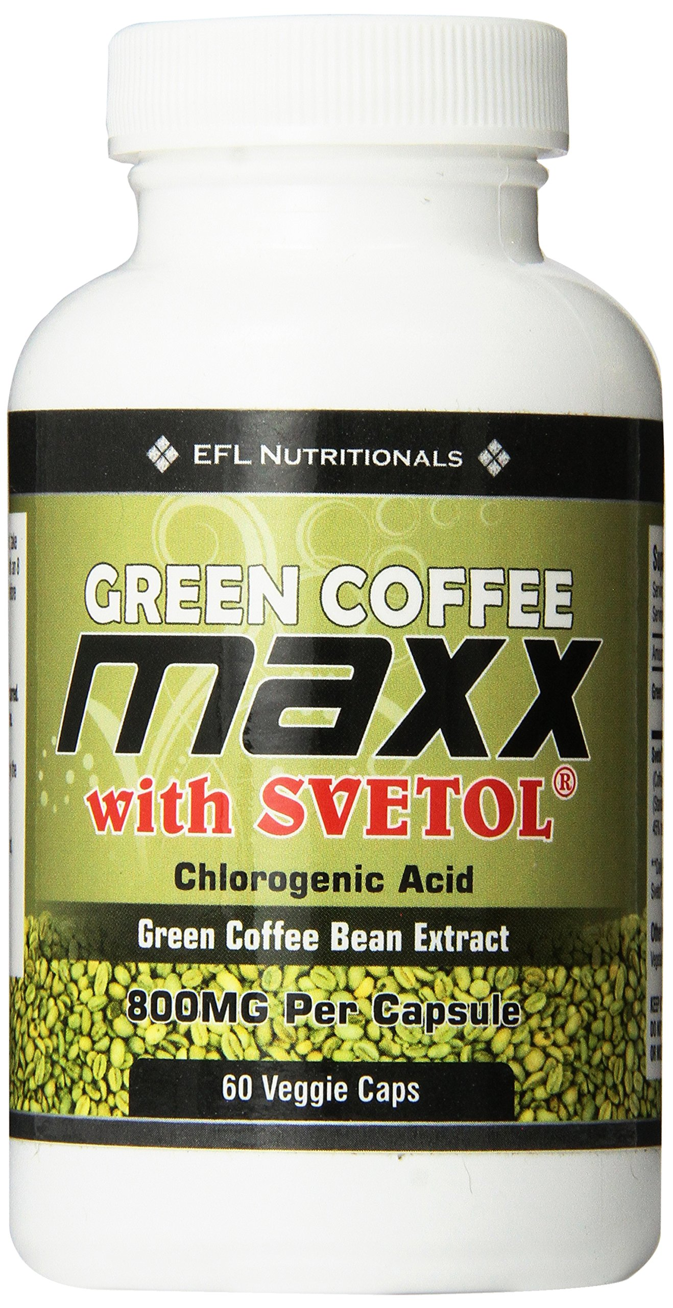 Green Coffee Maxx with Svetol® 800mg Per Capsule 30 Day Supply 60 Count Vegicaps No Fillers by EFL Nutritionals