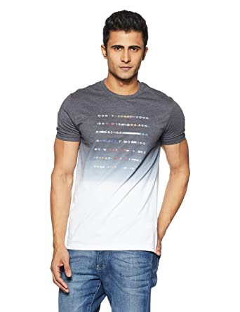 636d4dc95e United Colors of Benetton Men s Printed Regular Fit T-Shirt  (18P3096M3511I Grey M)