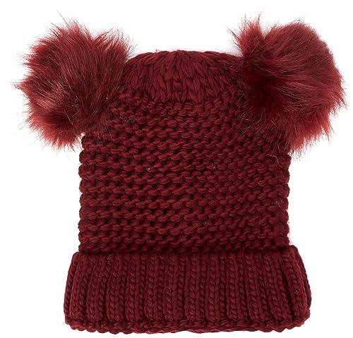 New Look Double Faux Fur, Gorro de Punto para Mujer, Red (Dark Burgundy), Talla única