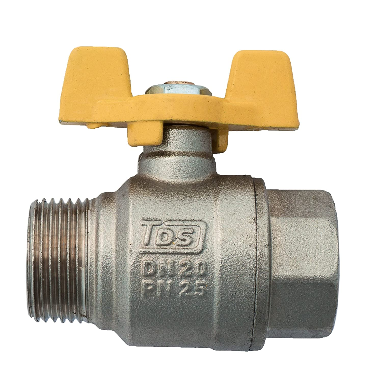 3/4' Gas Ball Valve FEMALE X MALE BSP TF Yellow Butterfly Handle BFG