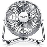 Brandson - Windmaschine Retro Stil | Ventilator in Chrom | Standventilator 32 Watt | Tischventilator/Standventilator | hoher Luftdurchsatz | robuster Stand | stufenlos neigbarer Ventilatorkopf
