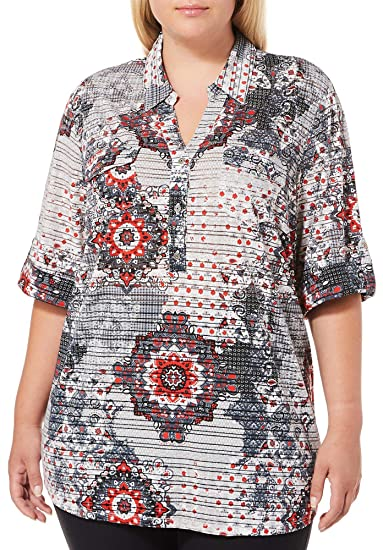 50eca52f877a9 Cathy Daniels Plus Medallion Print Roll Tab Top 1X Grey red White at Amazon  Women s Clothing store