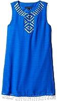 My Michelle Big Girls' Sheath Dress With Embroidered Neckline Pom Trim Hem