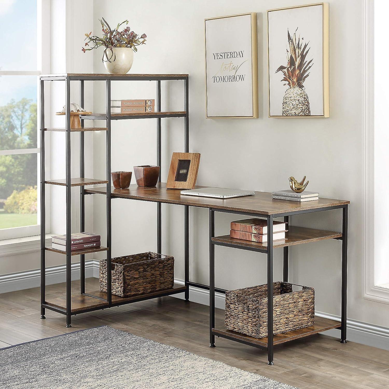 Merax Computer Multiple Shelves, Modern Large Office Bookshelf and Storage Space Desk, Brown