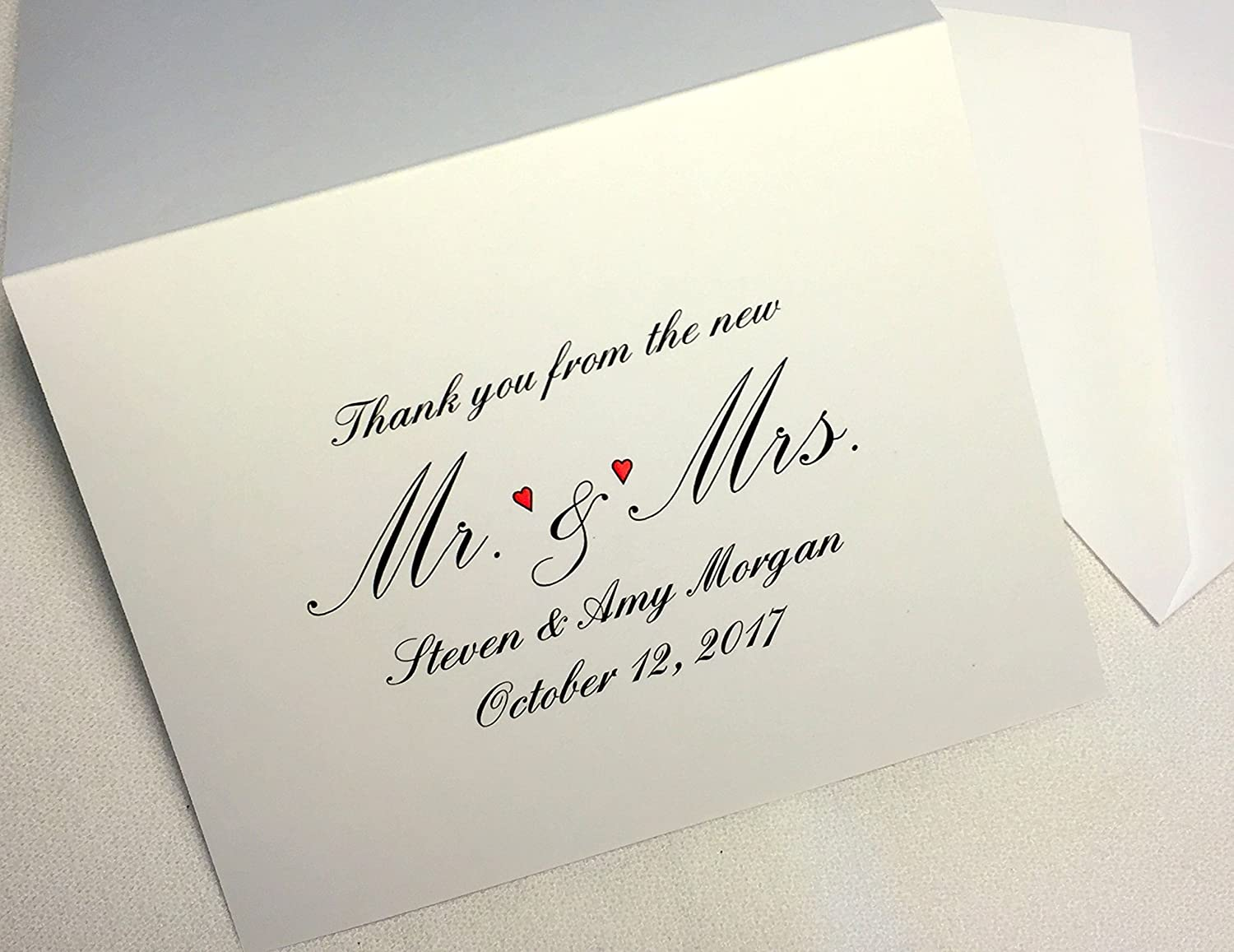 Amazon 50 Personalized Wedding Thank You Note Cards – Wedding Gift Thank You Card