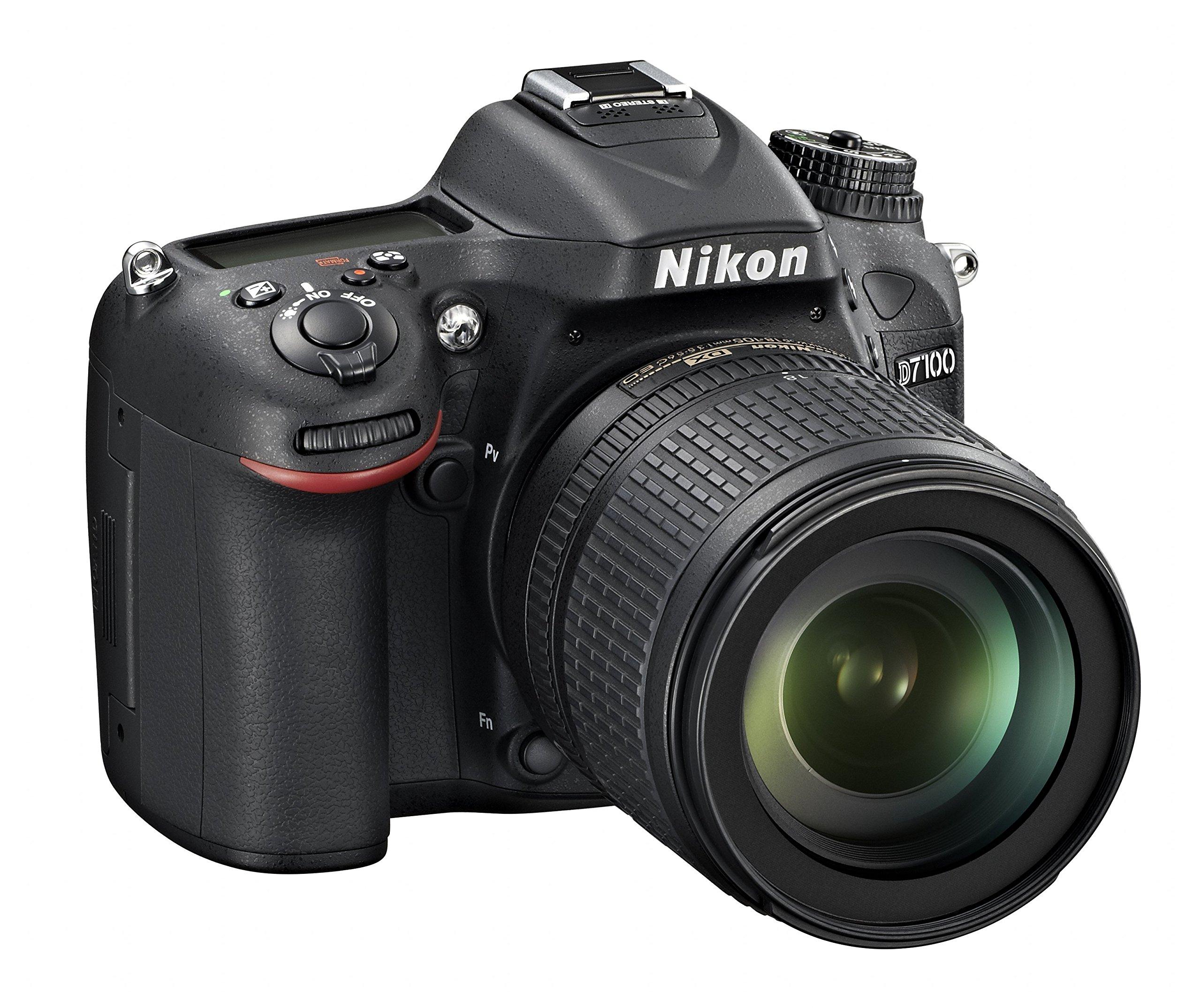 Nikon D7100 + Nikkor 18/105VR Fotocamera Reflex Digitale, 24.1 Megapixel, LCD da 3 Pollici, ISO 6400, SD 8GB Premium Lexar 180X, Colore Nero [Nital card: 4 anni di garanzia] product image