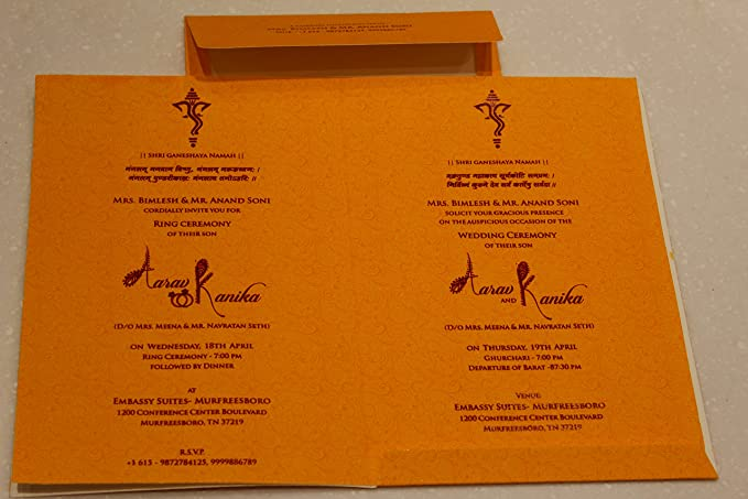 Wow Cbc Paper Invitation Card In Ganesha Design For Hindu Marriage Rituals Standard Size Orange