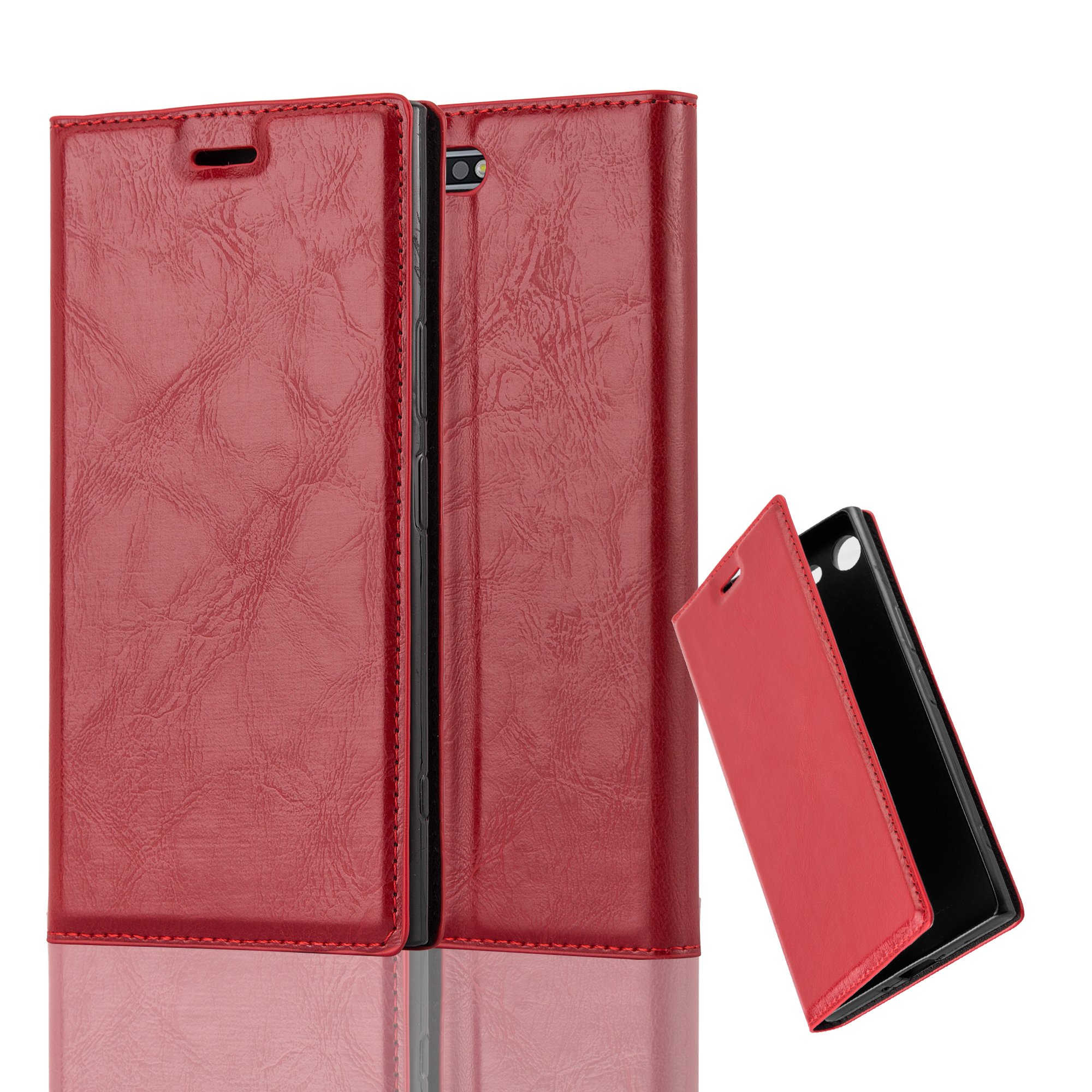 Cadorabo Case works with Sony Xperia XZ PREMIUM Book Case in APPLE RED (Design INVISIBLE CLOSURE) – with Magnetic Closure, Stand Function and Card Slot – Wallet Case Etui Cover PU Leather