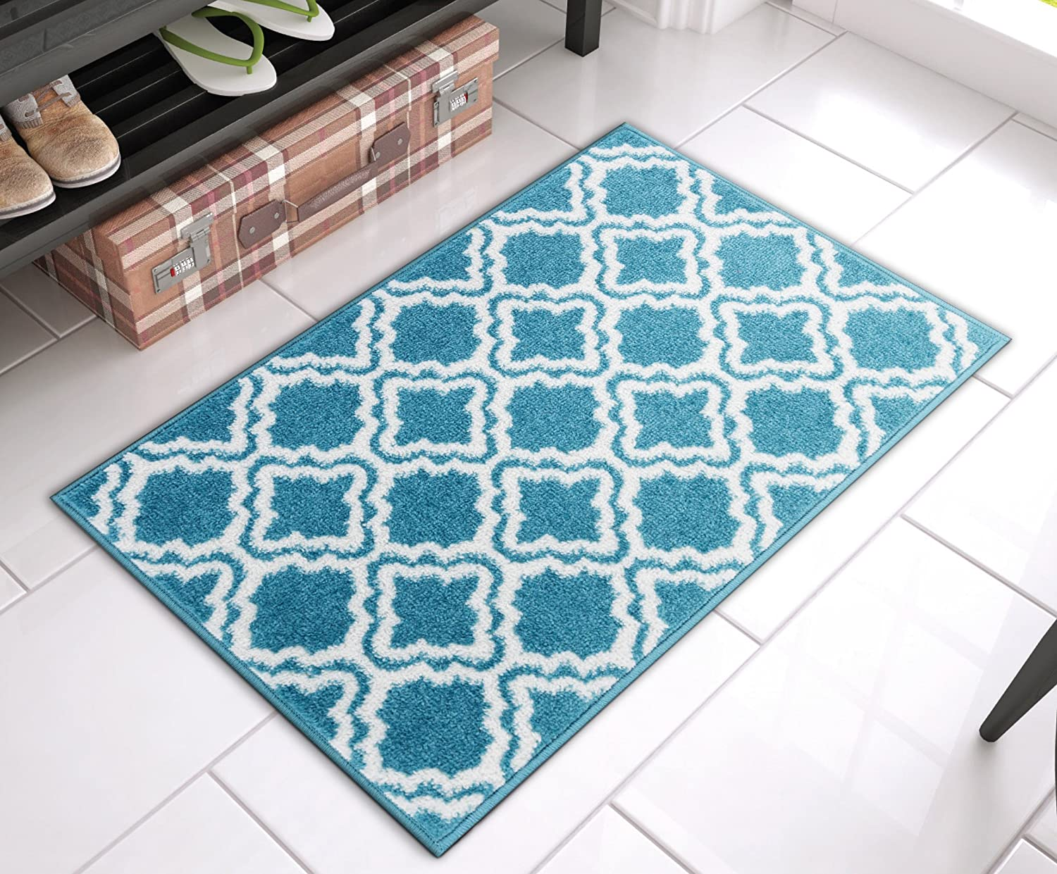 "Well Woven Bright StarBright Blue Calipso Modern Geometric Trellis 20"" x 31"" Mat Accent Area Rug"