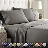 HC COLLECTION Bed Sheets Set, Hotel Luxury Platinum Collection 1800 Series Bedding Set, Deep Pockets, Wrinkle & Fade Resistant, Hypoallergenic Sheet & Pillow Case Set, Microfiber, Gray, Twin