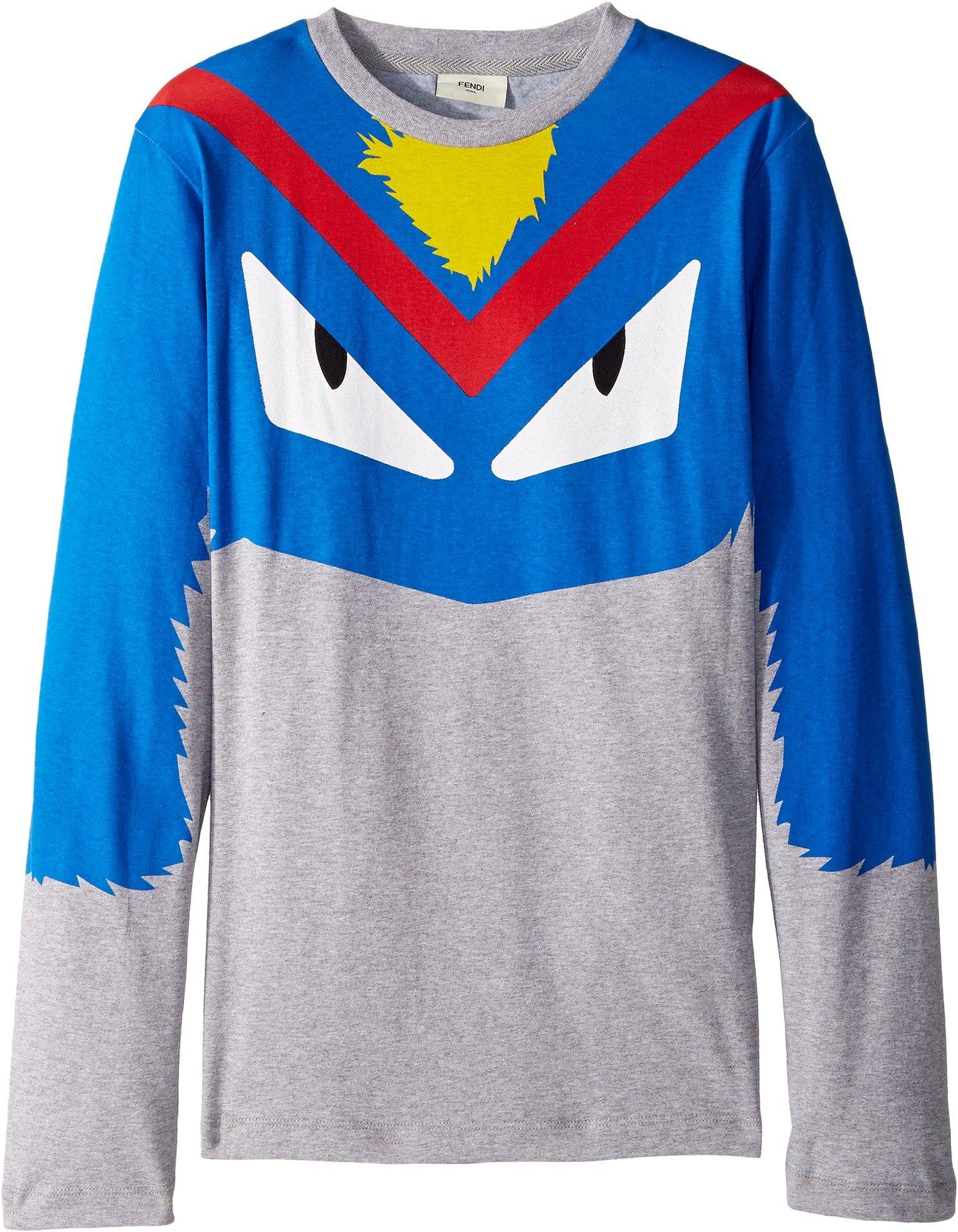Fendi Kids  Boy's Long Sleeve Monster Eyes Graphic T-Shirt (Big Kids) Grey/Multi 12  Years by Fendi Kids