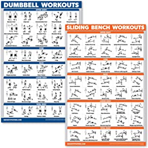 QuickFit 2 Pack - Dumbbell Workouts and Sliding Bench Exercise Poster Set - Compatible with Total Gym & Weider Ultimate Body Works