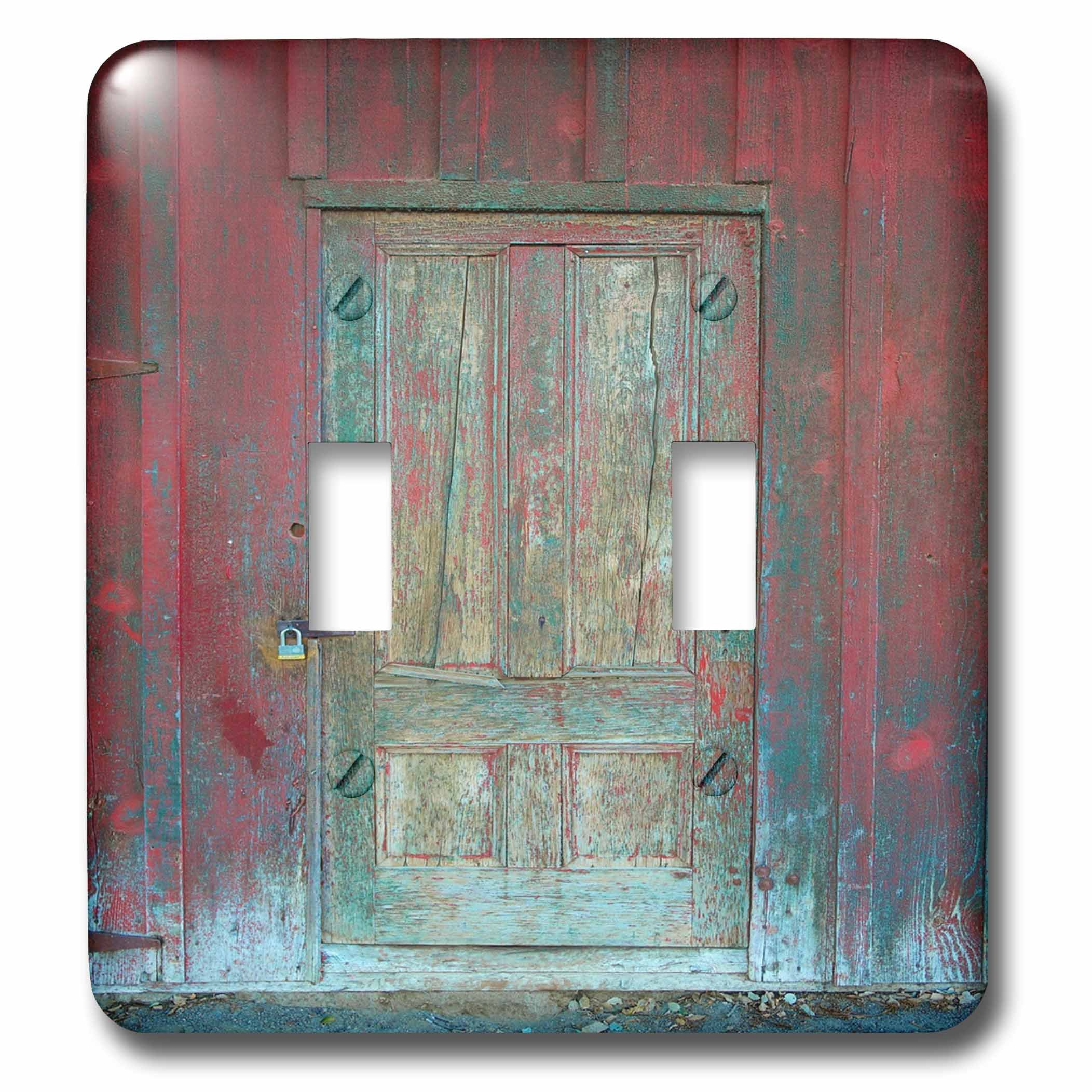 3dRose Abstract Wood Colors - Image of Aged Rustic Red Wooden Door - Light Switch Covers - double toggle switch (lsp_264386_2)