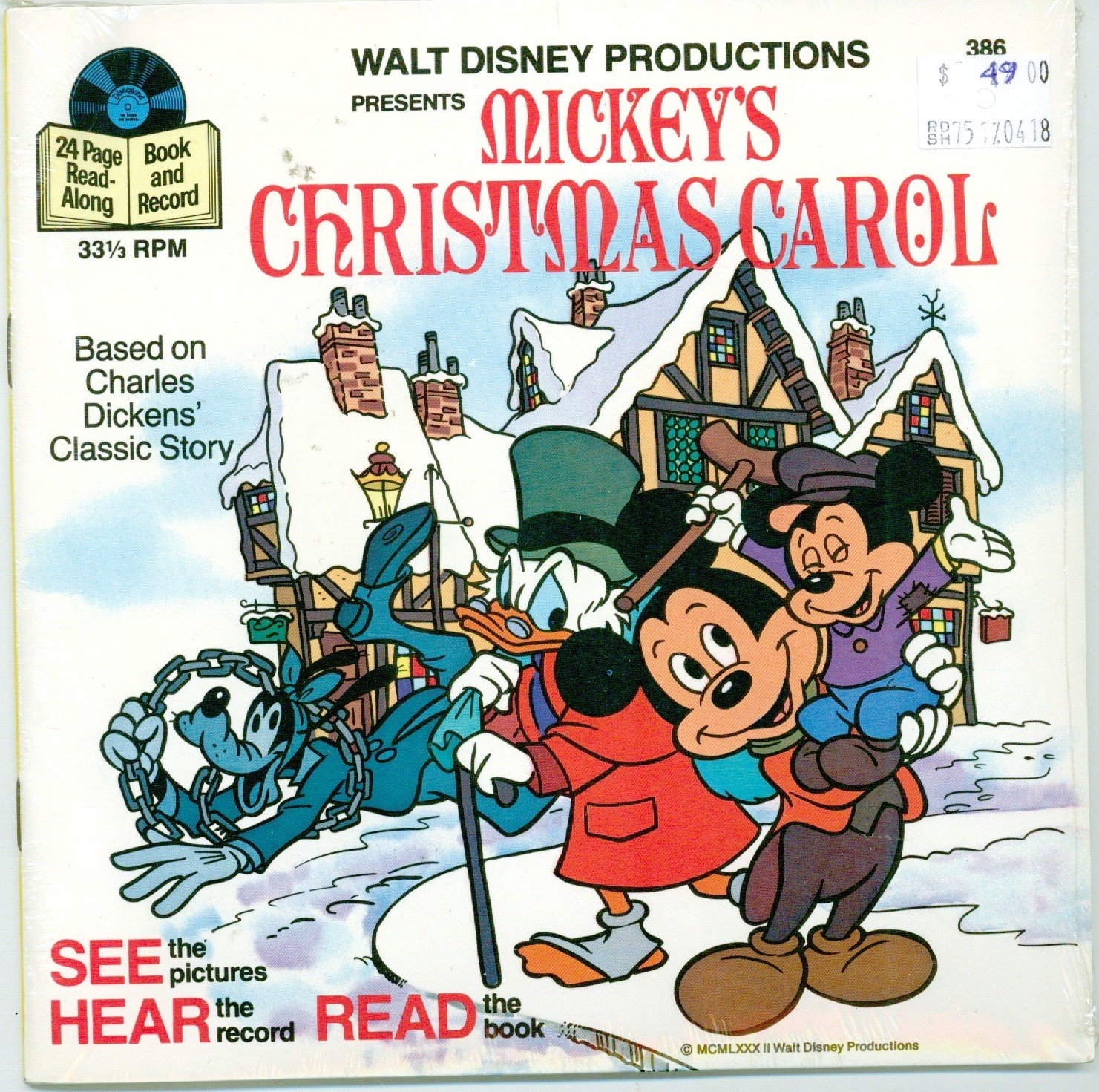 Mickeys Christmas Carol Book.Mickey S Christmas Carol Book And 33 1 3 Rpm Record See