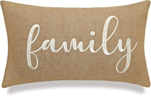 """EURASIA DECOR DecorHouzz Burlap Rustic Home Sweet Home Embroidered Decorative Lumbar Pillow for Housewarming Guest Entry Way Family Farmhouse Beach Porch Bench Gift (Family (Natural), 12""""x20"""")"""