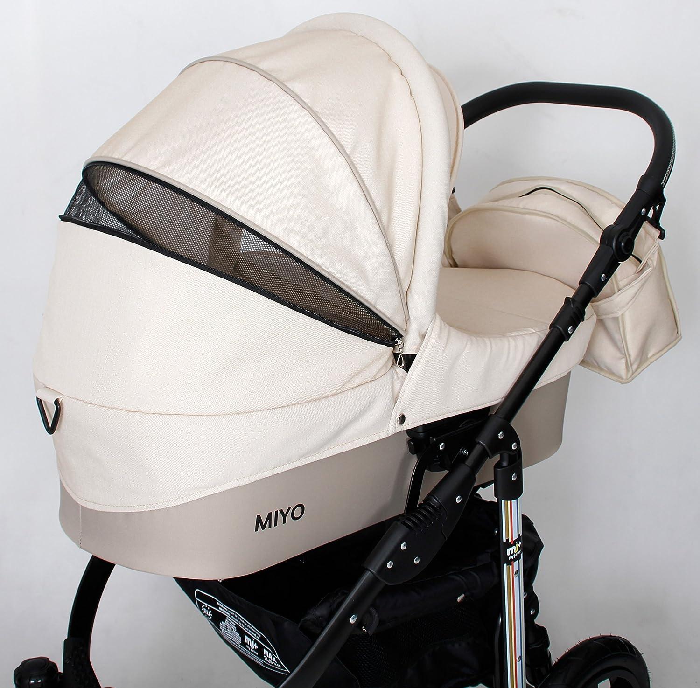 My Junior + Miyo 3 in 1 Juego completo de carrito para niño hasta 4 años de edad, 3 años de garantía, incluye asiento para el coche (Mega Set de 11 piezas), ...