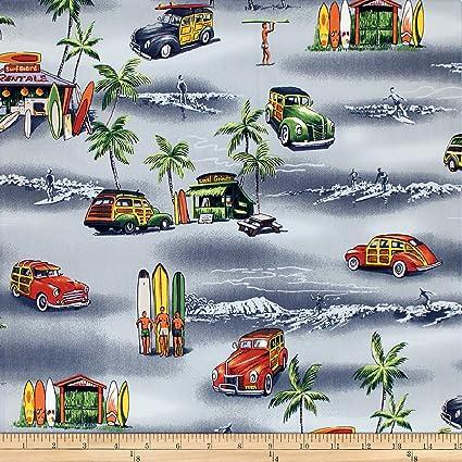 Amazon Trans Pacific Textiles Waikiki Surf Shack Gray Fabric By