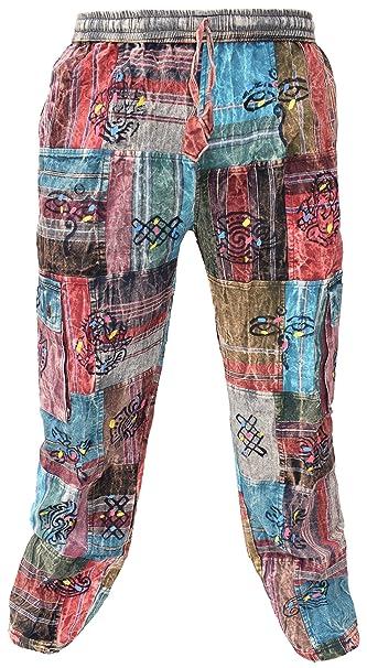 b26a18be01 Little Kathmandu Hombres – Pantalón loose algodón parche Casual Lounge pantalones  de Nepal  Amazon.es  Ropa y accesorios