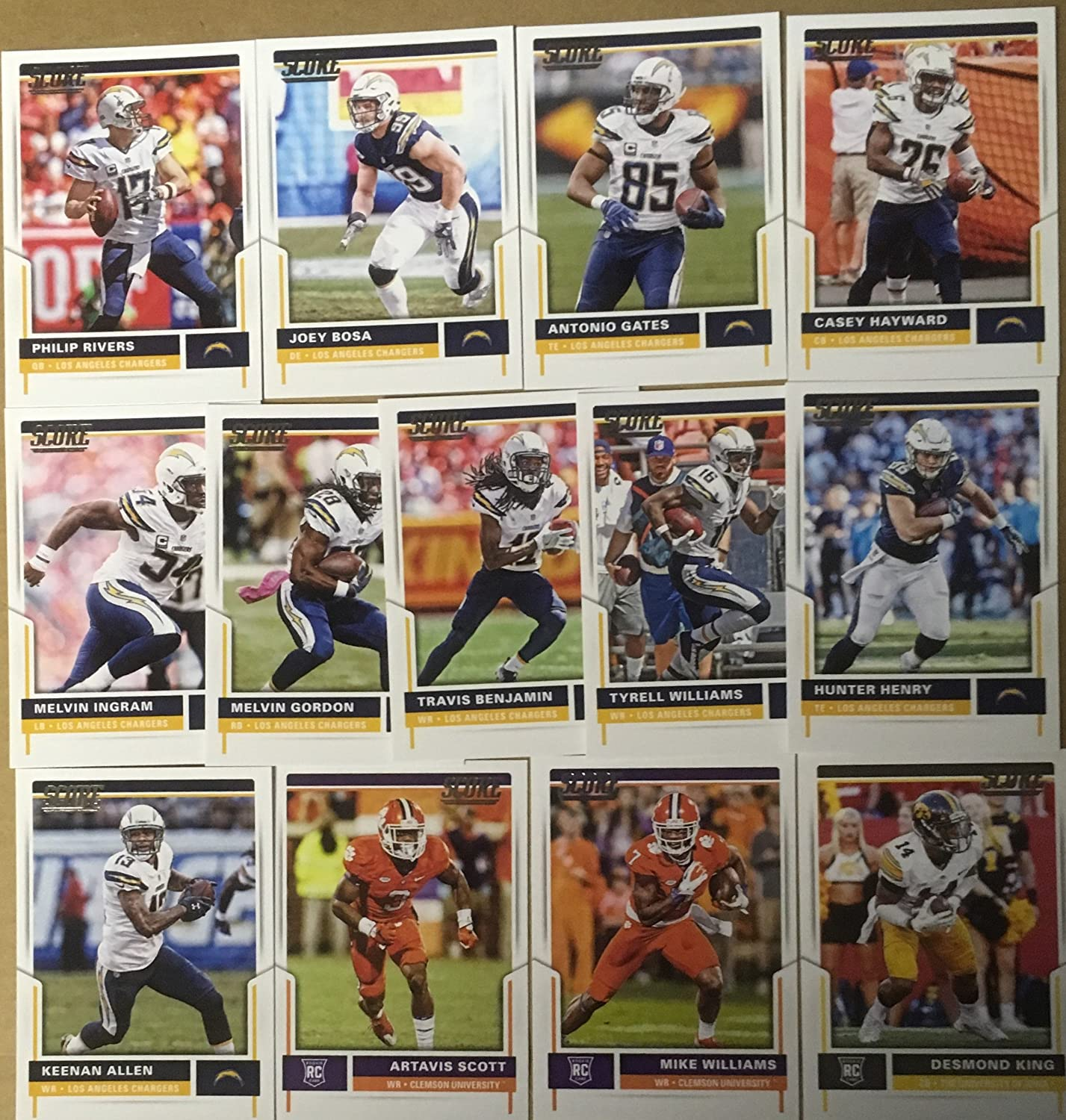 f9d3c229 2017 Panini Score Football Los Angeles Chargers Team Set 13 Cards W ...
