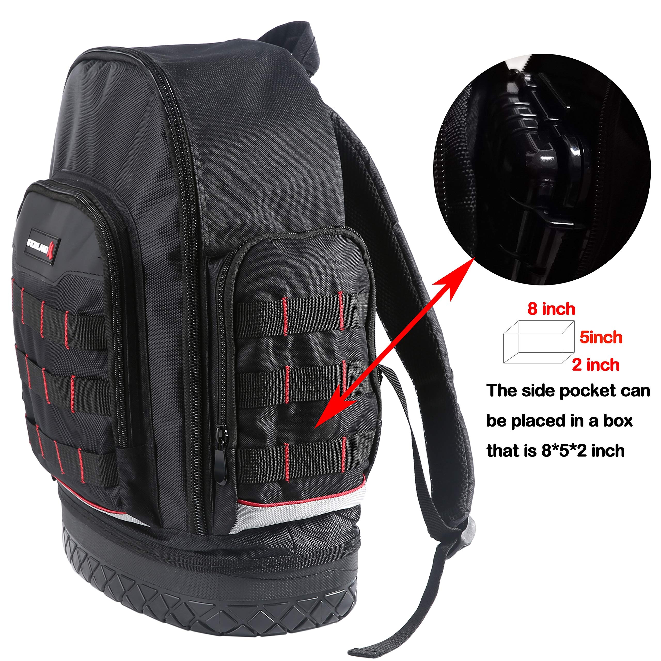 Electrician Tool Bag Backpack with Waterproof Molded Base, BP-005 by IRONLAND (Image #5)