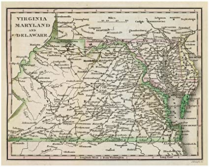 Amazon.com: Historic 1828 Map | Virginia, Maryland, and Delaware ...