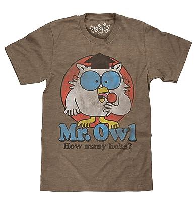 512d6607 Amazon.com: Tee Luv Mr Owl How Many Licks T-Shirt - Vintage Tootsie ...