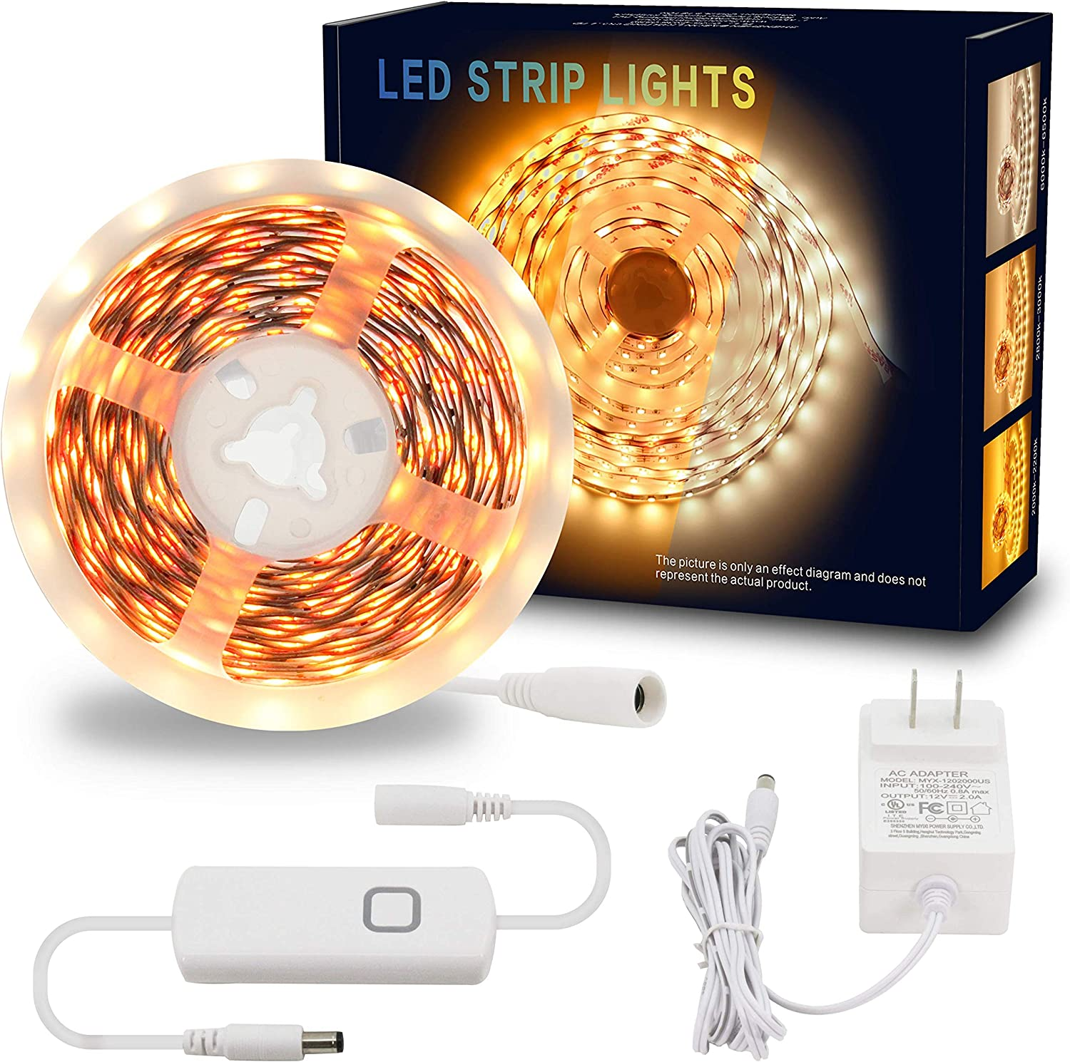MYPLUS Dimmable LED Light Strip Kit, Flexible LED Tape Light with 12V UL Listed Power Supply and Warm White 3000K, 16.4 FT Under Cabinet Lighting for Kitchen, Room, Party