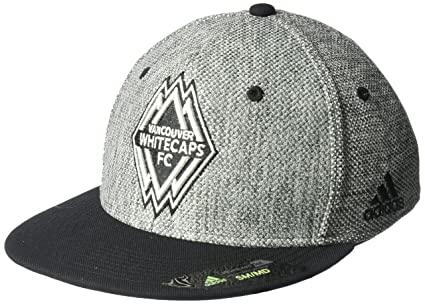 365686b9cd79f Image Unavailable. Image not available for. Color  adidas MLS Vancouver  Whitecaps Men s Heathered Gray Fabric Flat Visor Flex Hat ...