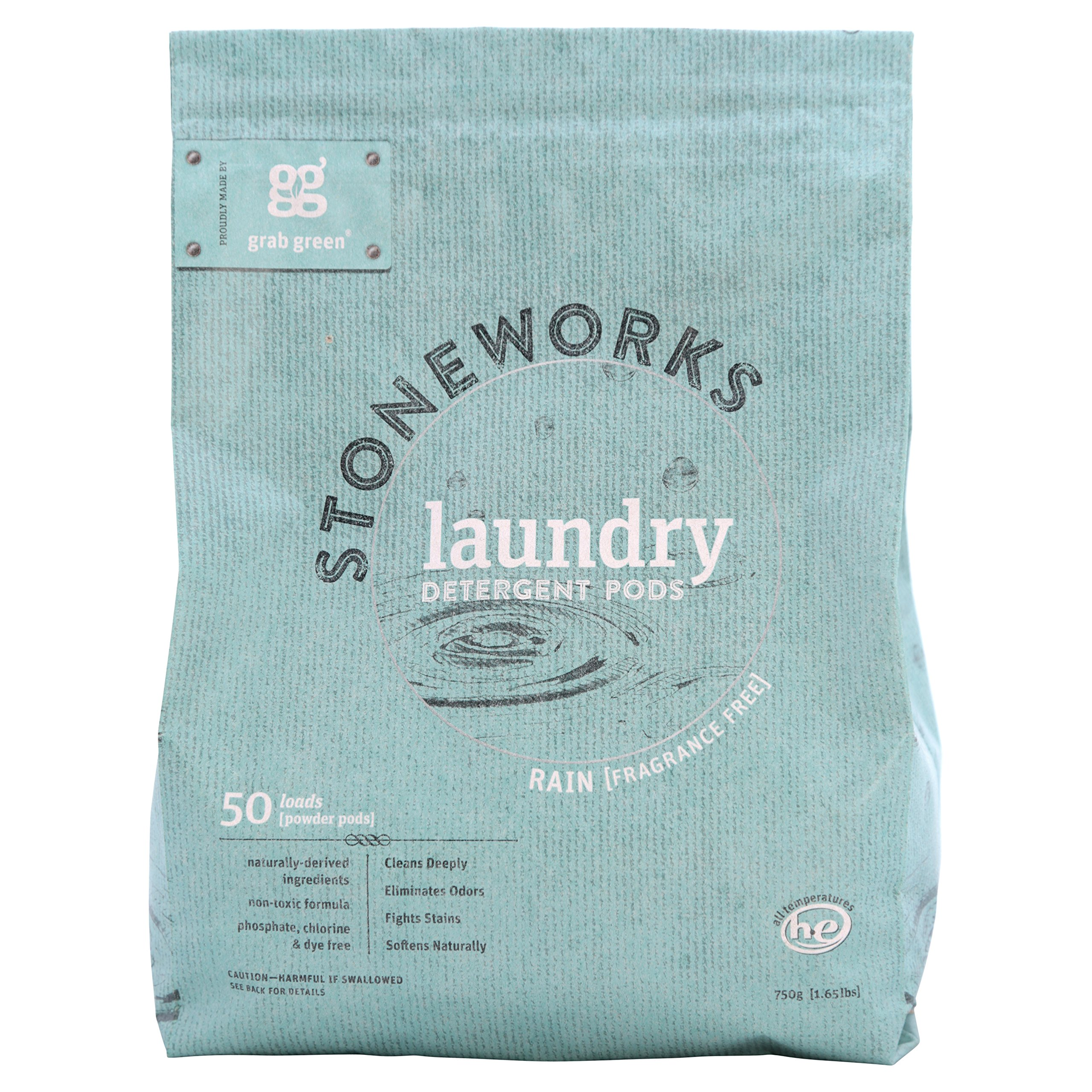 Grab Green Stoneworks Natural Laundry Detergent Powder Pods, Rain (Fragrance Free), 50 loads