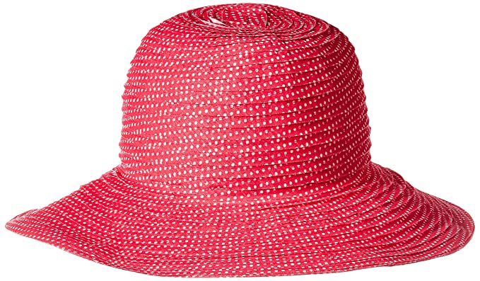 3a5da2cb7d2 Wallaroo Hat Company Women s Petite Scrunchie Sun Hat - Fuchsia White Dots  - UPF 50