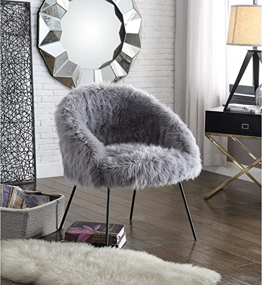 Amazon Com Ana Grey Fur Accent Chair Metal Legs Upholstered Living Room Entryway Bedroom Inspired Home Kitchen Dining