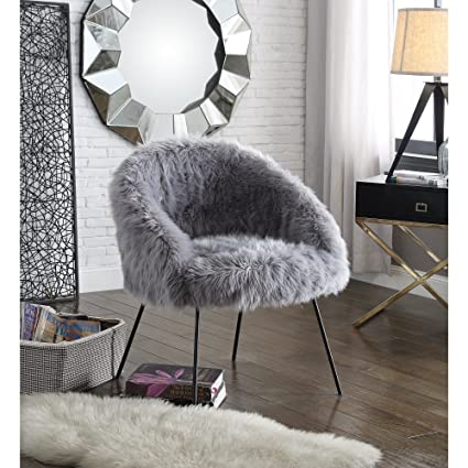 Amazon.com: Ana Grey Fur Accent Chair - Metal Legs | Upholstered ...